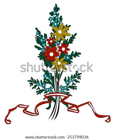Vector Flowers Bouquet with ribbon for your Design - stock vector