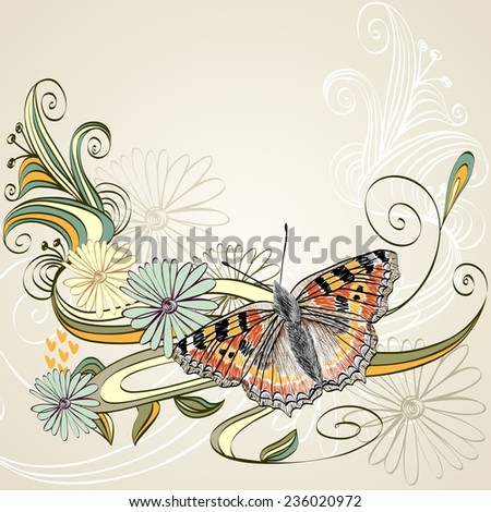 Vector flowers fantasy and swirls with butterfly. - stock vector