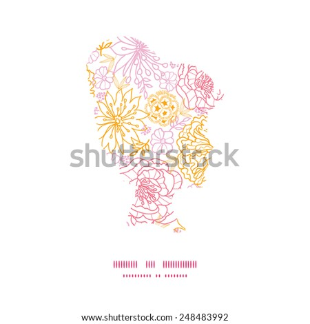 Vector flowers outlined girl portrait silhouette pattern frame