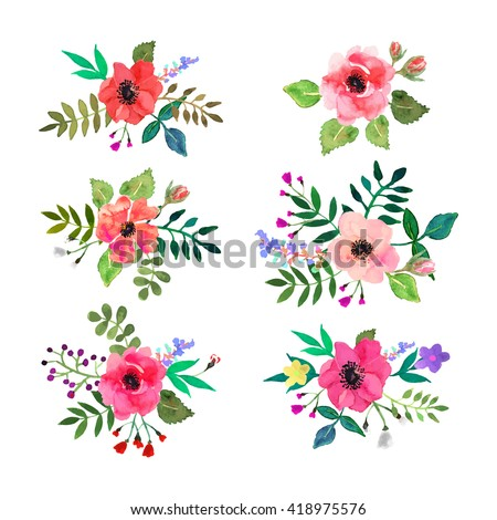 Watercolor flower stock images royalty free images vectors vector flowers set colorful floral collection with leaves and flowers drawing watercolorsign ccuart Image collections