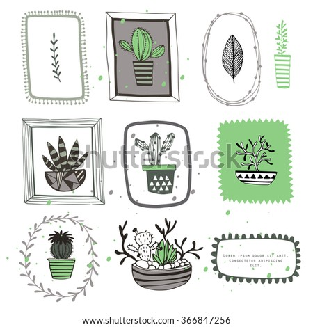 Vector flowers with frame - stock vector