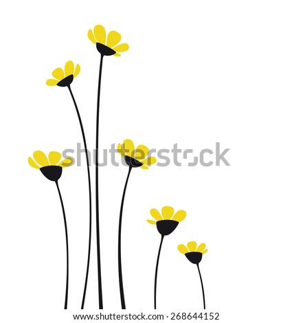 Vector flowers with yellow petals on a white background - stock vector