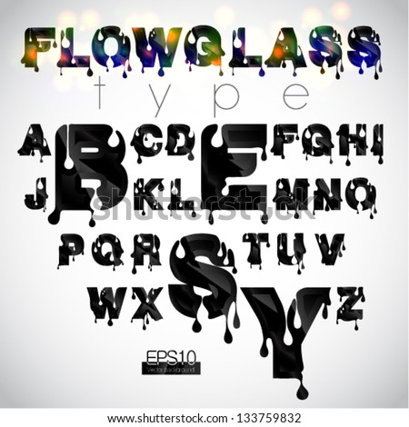 "Vector ""Flowglass"" font, EPS10 - stock vector"