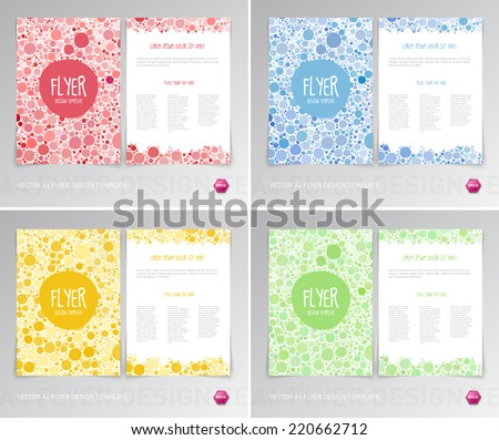 Vector flyer design templates collection with irregular dots backgrounds - stock vector