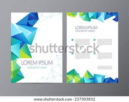 vector flyer, green and blue brochure abstract design 2 sides, background, cover. Modern crystal, geometric - stock vector