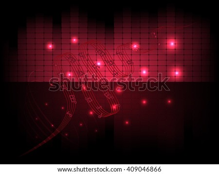 Vector flyer musical abstract background with equalizer and notes. Blend mode and transparancy were used. - stock vector