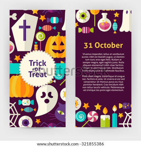 Vector Flyer Template of Flat Design Halloween Trick Treat Objects and Elements. Flat Style Design Vector Illustration of Brand Identity for Halloween Party Promotion. Colorful Pattern for Advertising - stock vector