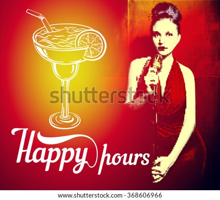 "Vector flyer with girl singer in red dress and lettering "" happy hours"""