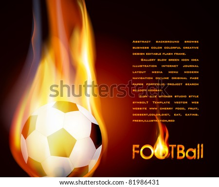 Vector flying flaming soccer ball on a brown background - stock vector
