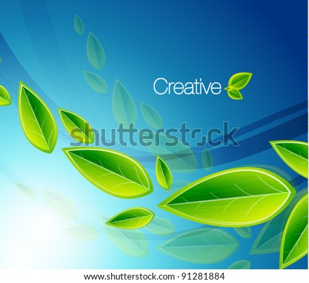 Vector flying leaves on blue. Abstract eps10 nature background