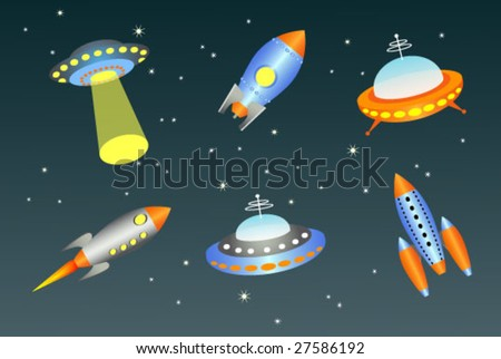 vector flying saucers and spaceships - stock vector