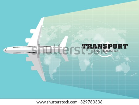 Vector flying transport freight cargo jet airliner plane - stock vector