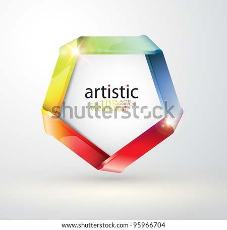 Vector folded rainbow ribbon - stock vector
