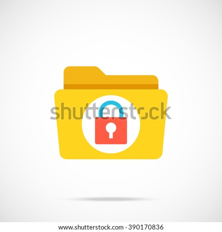 Vector folder and lock icon. Modern flat design vector illustration concept for web banners, web and mobile app, web sites, printed materials, infographics. Vector icon isolated on gradient background - stock vector