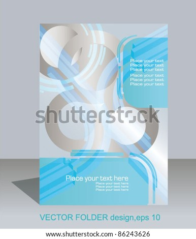 Vector folder flyer design, editable illustration - stock vector