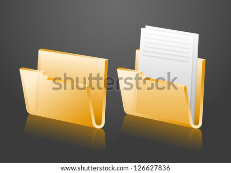 Vector folder icons, empty and with document, eps8 - stock vector