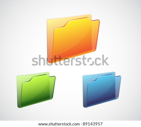 Vector folder shining icon with color variation
