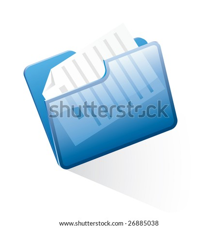 vector folder with document - stock vector