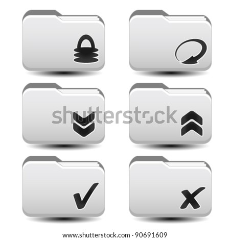 Vector folders with download, reload, upload arrows - stock vector
