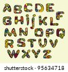 vector font color painted in the style of ethnic / Color font in the style of ethnic - stock vector