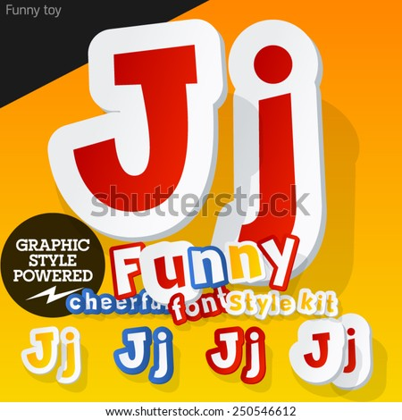 Vector font in shape of funny toys or cartoon elements. Letter J - stock vector