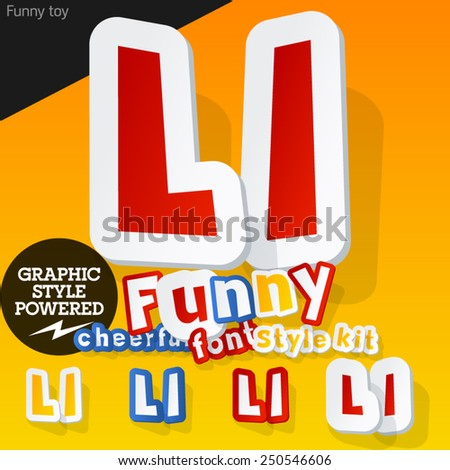 Vector font in shape of funny toys or cartoon elements. Letter L - stock vector