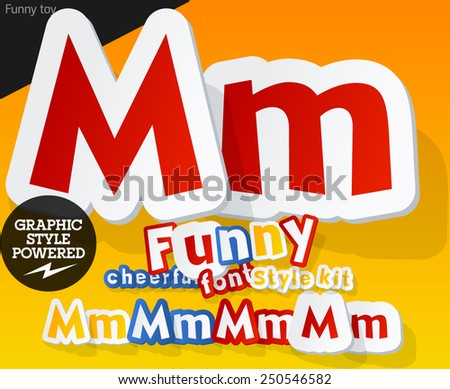 Vector font in shape of funny toys or cartoon elements. Letter M - stock vector