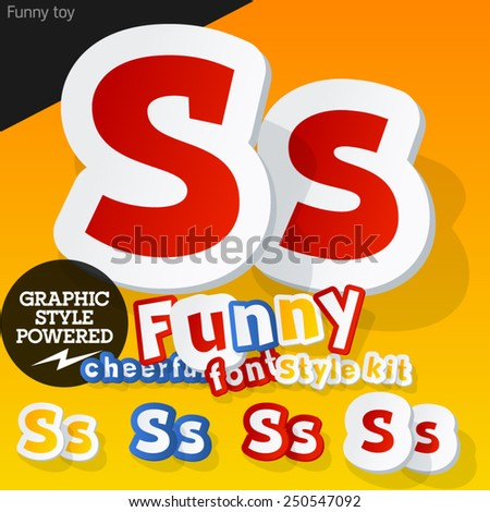 Vector font in shape of funny toys or cartoon elements. Letter S - stock vector