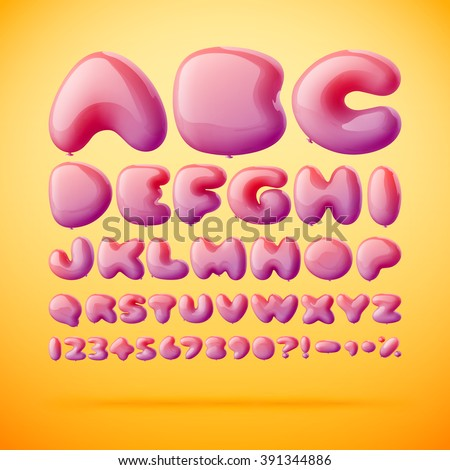 Vector font made from balloons in letters shape. Gradient mesh - stock vector