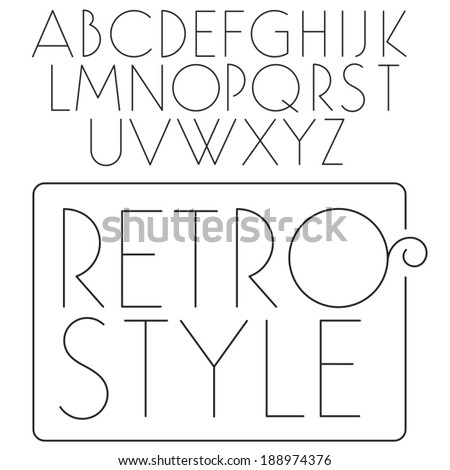 Vector font. Slim fashion type. Light retro letters. Fashion typeface. - stock vector