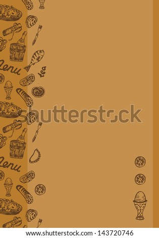 Vector food background template for Caf�© or restaurant with plenty space for text - stock vector
