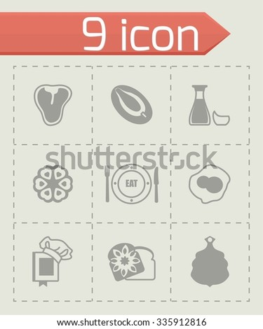 Vector Food icon set on grey background