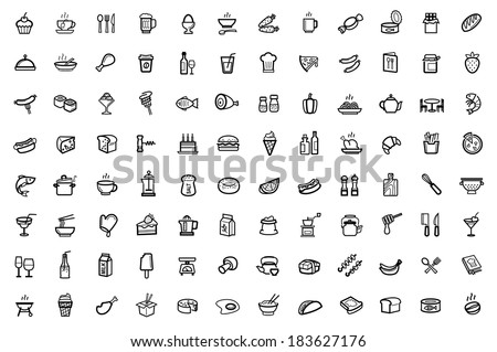 vector food icons set - stock vector
