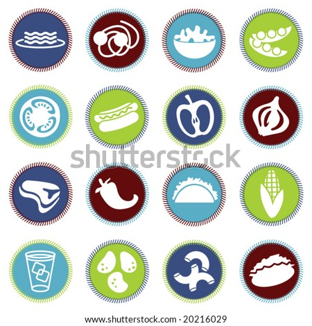 vector food icons set 5 - stock vector