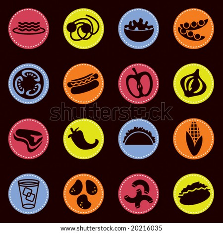 vector food icons set 7 - stock vector