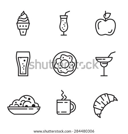 Vector food icons set line style - stock vector
