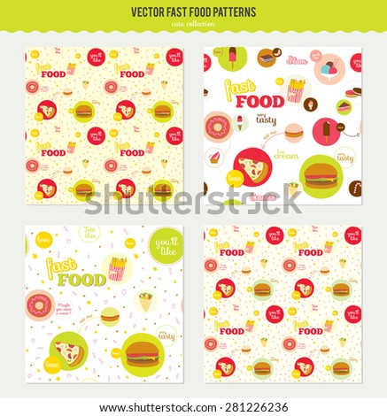 Vector food pattern with fast food icons in circles. Icons of pizza, hamburger, cheeseburger, hot dog, donuts, sandwich for restaurants, cafes, on line shop, events. - stock vector