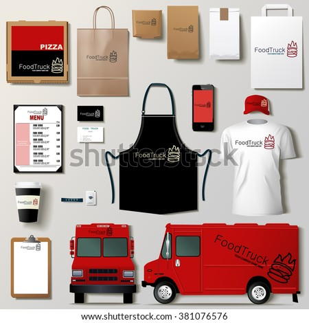 Vector Food Truck Corporate Identity Template Stock Vector 385284523 ...