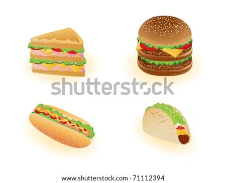 Vector foods. Hamburger, hotdog etc - stock vector
