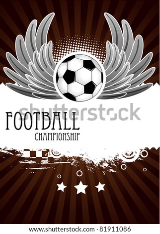 Vector Football background with the balls, wings and stars - stock vector