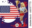 Vector football poster with American flag,soccer ball and beautiful cheerleader girl which holds a prize-winning gold bowl. - stock vector