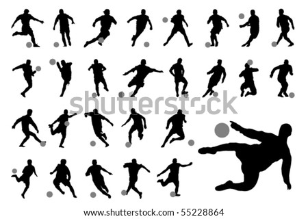 Vector football (soccer) players silhouettes - stock vector