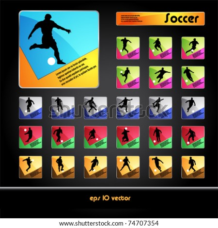 Vector football (soccer) players silhouettes buttons - stock vector