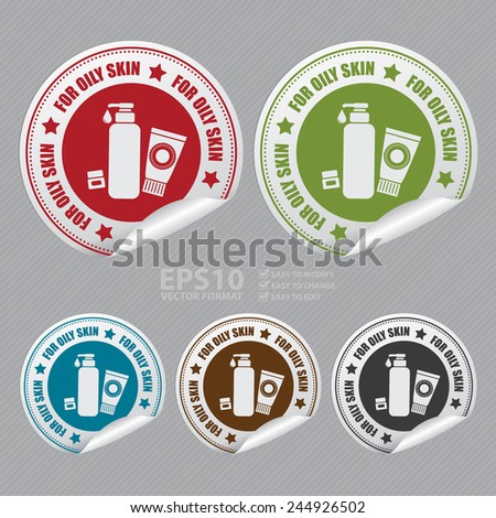 Vector : For Oily Skin Sticker, Icon or Label - stock vector