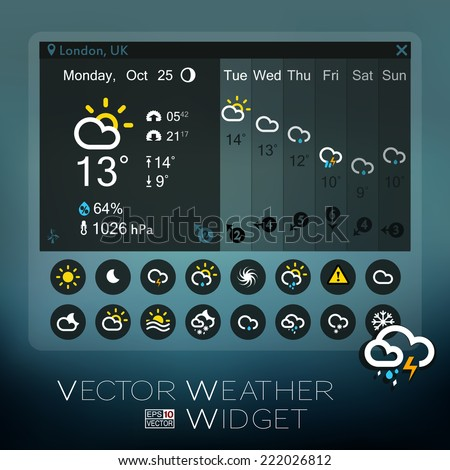 Vector Forecast Widget and Icons, blue tones. Horizontal week information. Additional icons set (all available in my portfolio). eps 10. Application for mobile phones, pads, desktop computers etc - stock vector