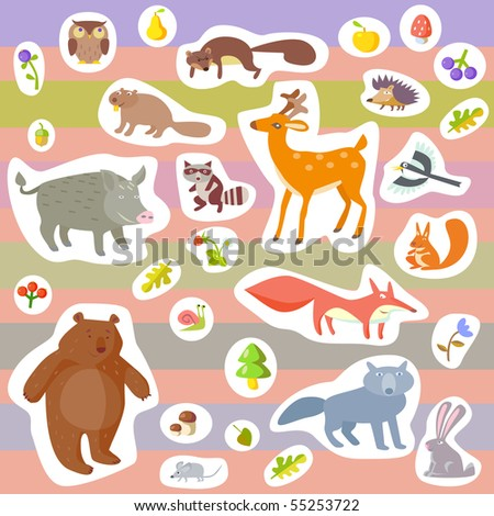 vector forest animals - stock vector