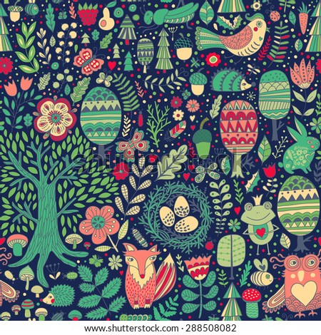 Vector forest design, floral seamless pattern with forest animals:  frog, fox, owl, rabbit, hedgehog. Vector background with butterflies,bugs, bees, trees and flowers in childish style. - stock vector