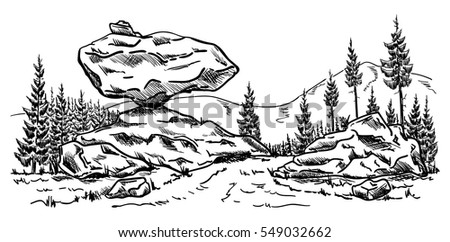 vector - forest path with rock at landscape isolated on background