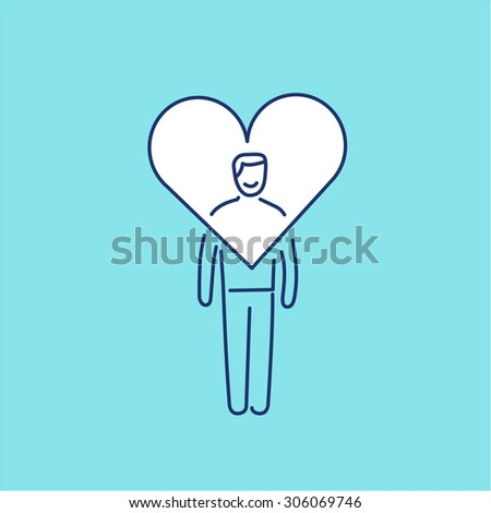 Vector forgiveness skills icon of businessman with heart around his head | modern flat design soft skills linear illustration and infographic on blue background
