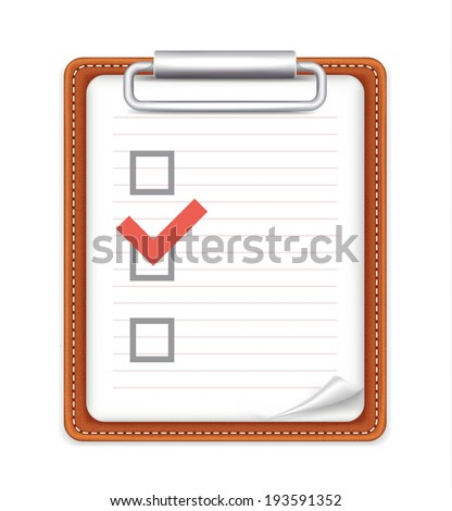 Vector Form with Checklist Icon - stock vector